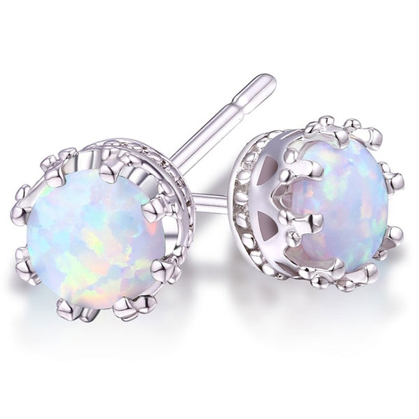 2.00 CTW Genuine Opal Crown Stud Earrings - DailySale, Inc
