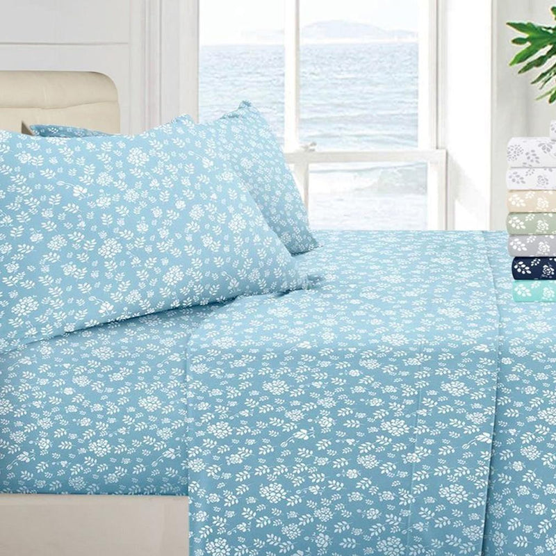 1800 Series Egyptian Floral Bed Sheet Set Linen & Bedding Twin Blue - DailySale
