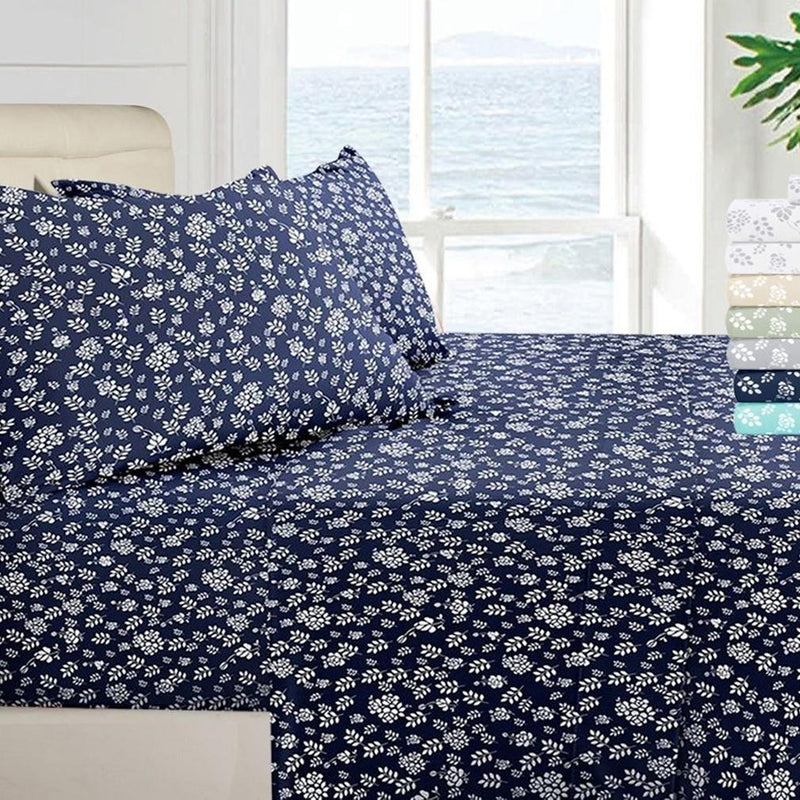 1800 Series Egyptian Floral Bed Sheet Set Linen & Bedding Twin Navy - DailySale