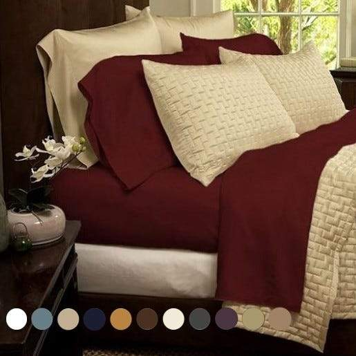 1800 Series Sheets Super-Soft Bamboo Fiber - Assorted Colors and Sizes Linen & Bedding California King Burgundy - DailySale