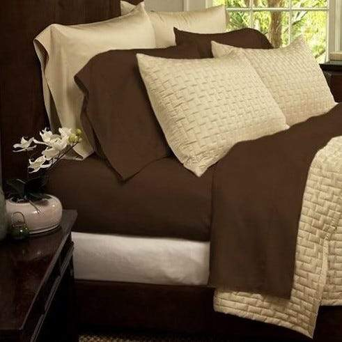 1800 Series Sheets Super-Soft Bamboo Fiber - Assorted Colors and Sizes Linen & Bedding California King Chocolate - DailySale