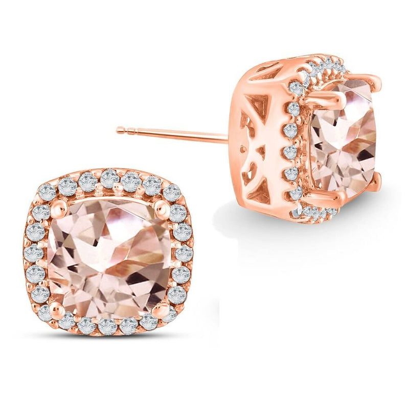 1.85 CTTW Morganite Pave Classic Cushion-Cut Stud Earrings Jewelry - DailySale