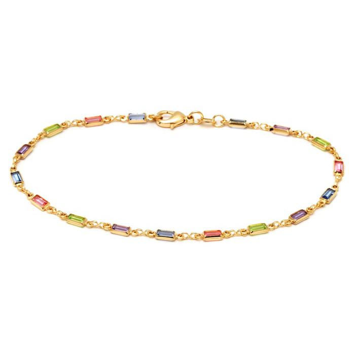18K Gold Anklet Made with Swarovski Elements Bracelets - DailySale