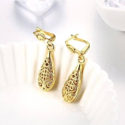 18K Gold Laser Cut Filigree Drop Earrings - Assorted Colors Jewelry - DailySale