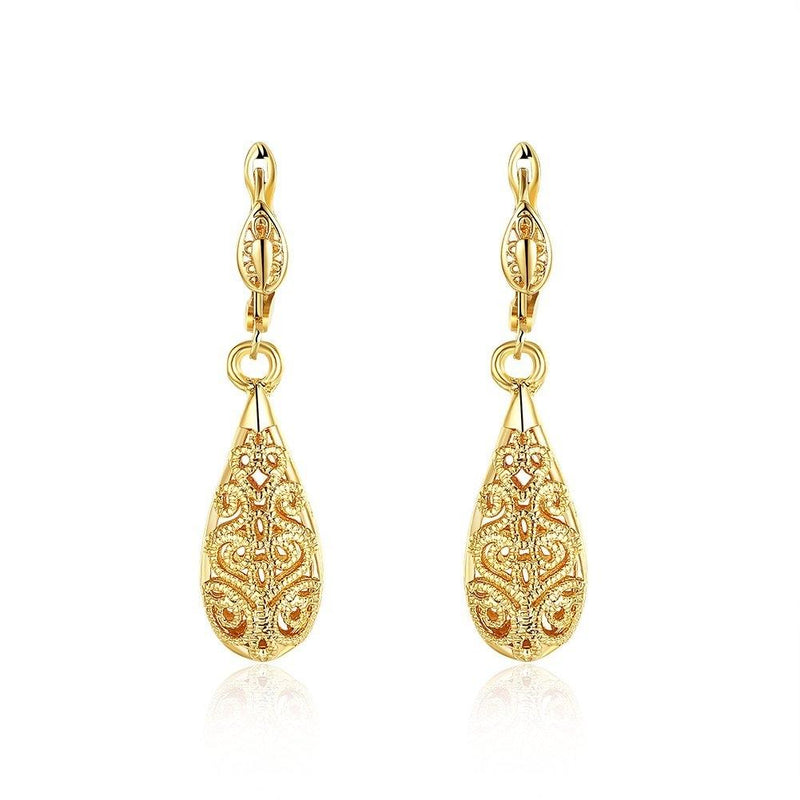 18K Gold Laser Cut Filigree Drop Earrings - Assorted Colors Jewelry Gold - DailySale