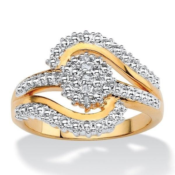 18K Gold Plated 0.15 Ct Diamond Accent Swirl Ring Rings 6 - DailySale