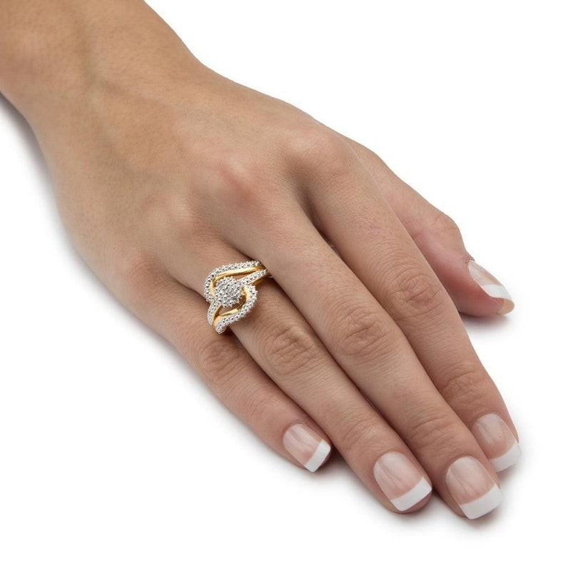 18K Gold Plated 0.15 Ct Diamond Accent Swirl Ring Rings - DailySale