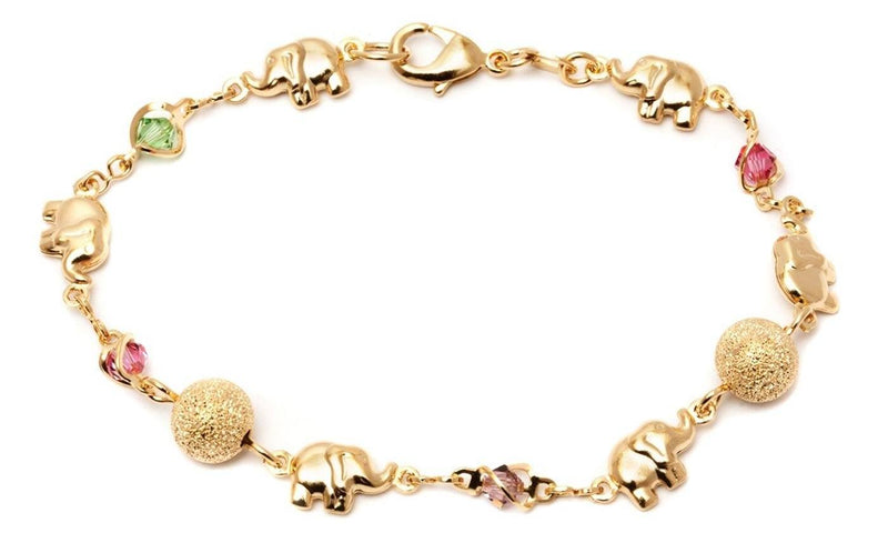 18K Gold Plated Ball and Rainbow Crystal Elephant Anklet Jewelry - DailySale