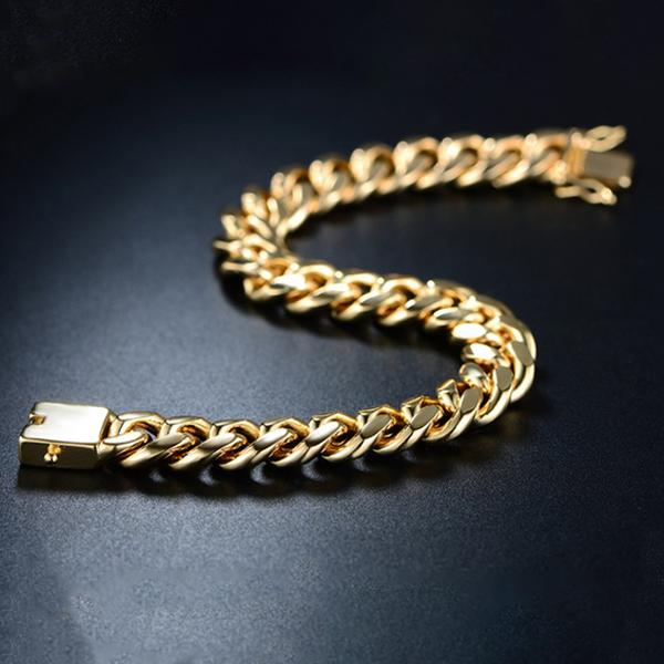 18K Gold Plated Cuban Chain Bracelet Jewelry - DailySale