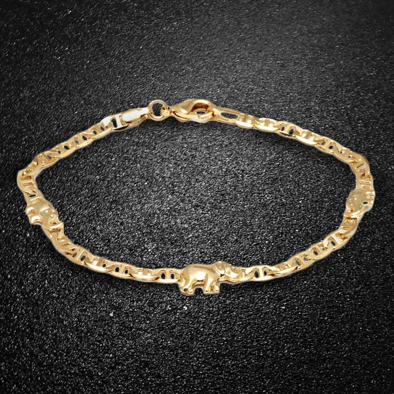18K Gold Plated Elephant Charm Mariner Link Anklet Jewelry - DailySale