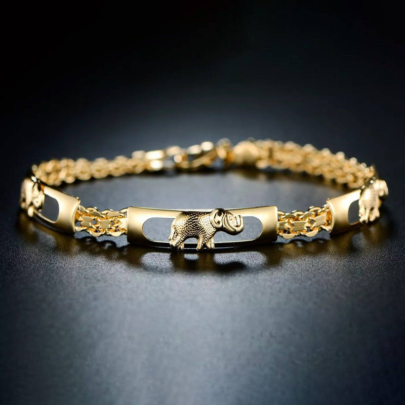 18K Gold Plated Lucky Elephant Parade Bracelet Bracelets - DailySale