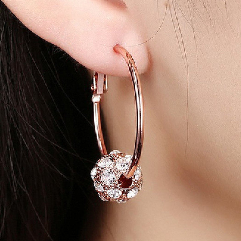 18K Gold Plated Pave Ball Hoop Earring Swarovski Crystals Jewelry - DailySale