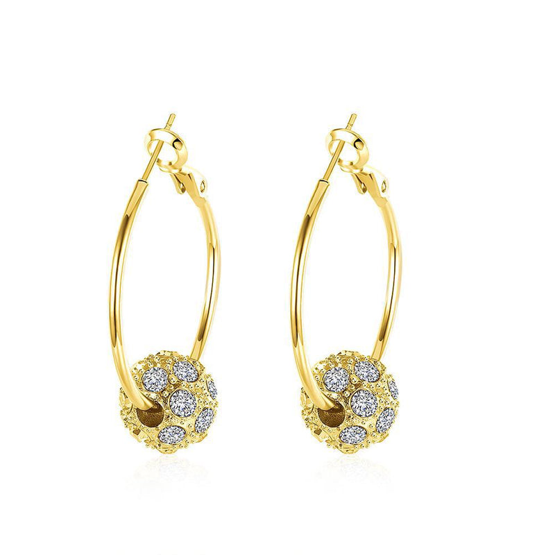18K Gold Plated Pave Ball Hoop Earring Swarovski Crystals Jewelry Gold - DailySale