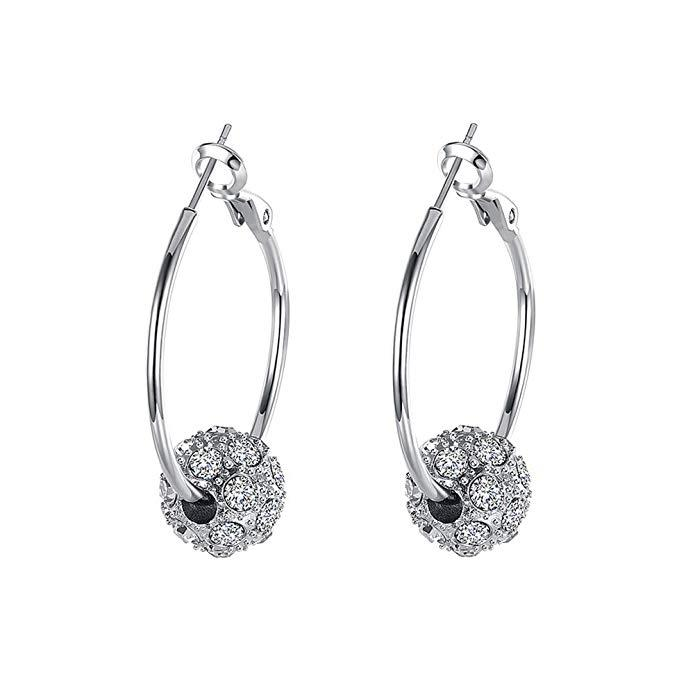 18K Gold Plated Pave Ball Hoop Earring Swarovski Crystals Jewelry White Gold - DailySale