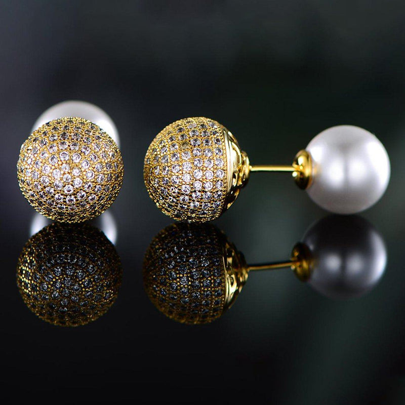 18K Gold Plated Pearl and Swarovski Crystal Ball Front-Back Earrings Jewelry - DailySale