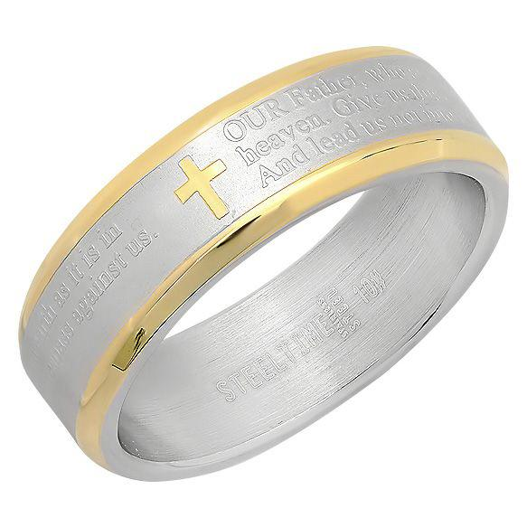 18K Gold-Plated Stainless Steel Unisex Two-Tone The Lord's Prayer Cross Band Rings 6 - DailySale