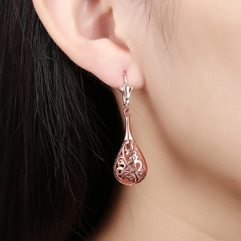 18K Rose-Gold Plated Bohemian Laser Cut Drop Earrings Jewelry - DailySale