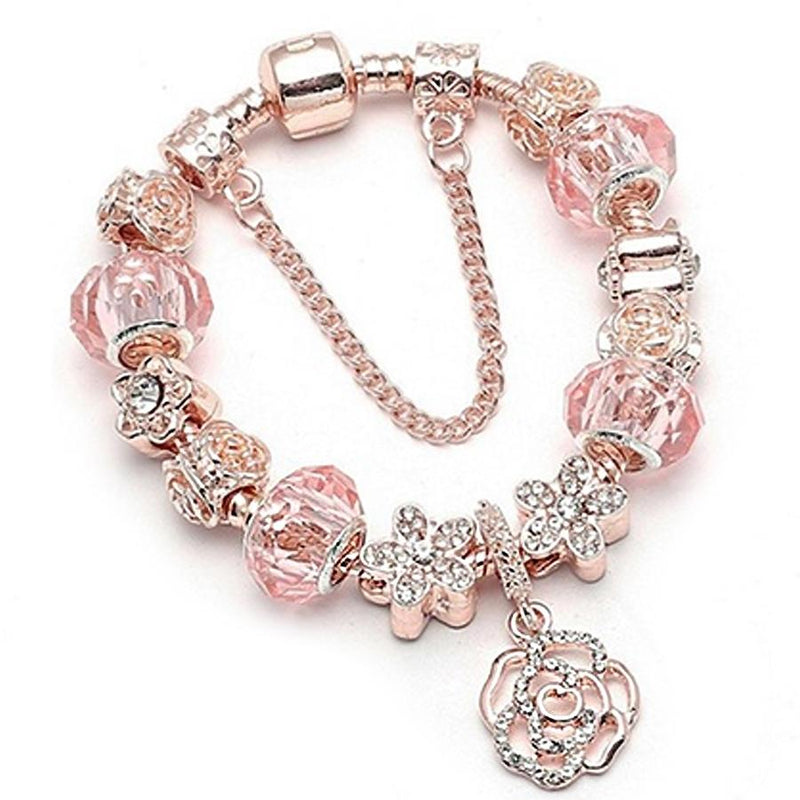 18K Rose Gold Plated Crystal Charm Bracelet Made With Swarovski Elements Jewelry - DailySale