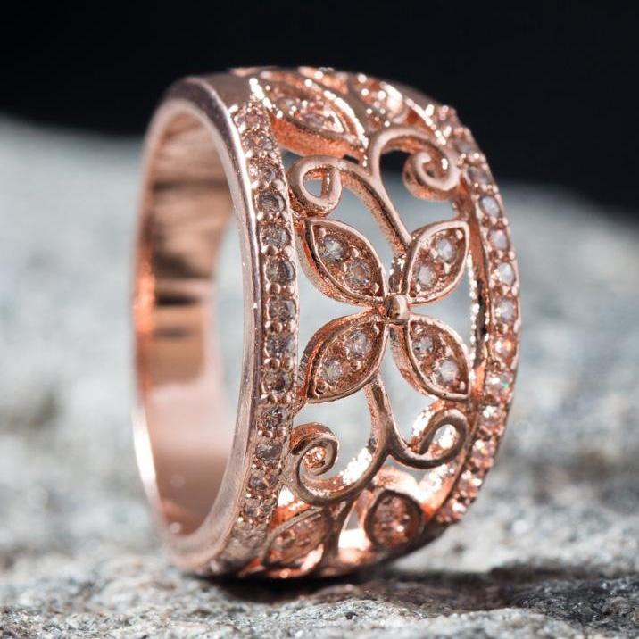 18K Rose Gold Plated Flower Filigree Ring made with Swarovski Elements - Assorted Sizes Jewelry - DailySale