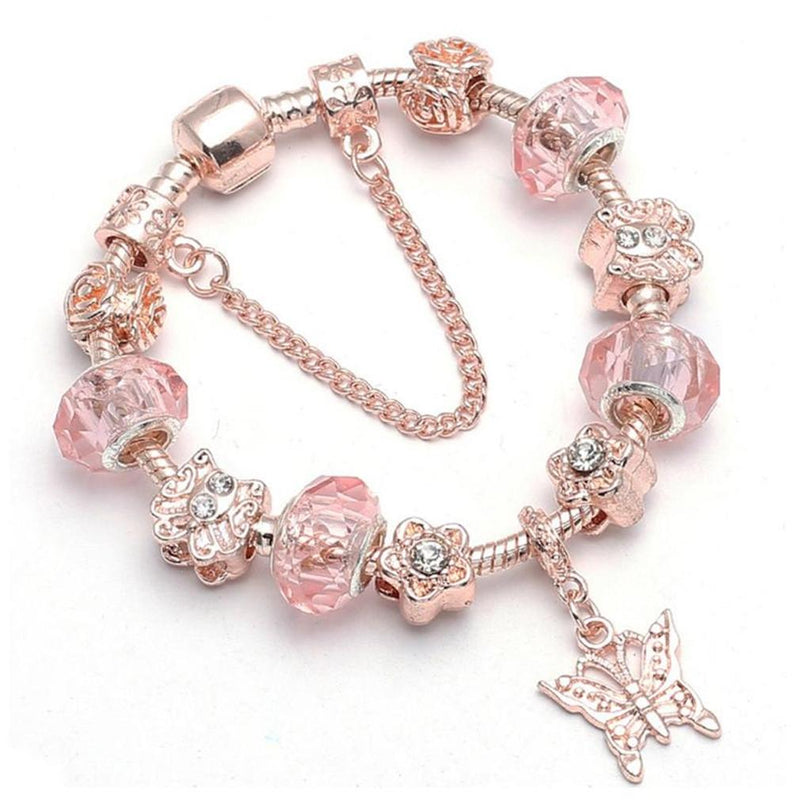 18K Rose Gold Plated Pink Crystal Butterfly Charm Bracelet Made With Swarovski Elements Jewelry - DailySale