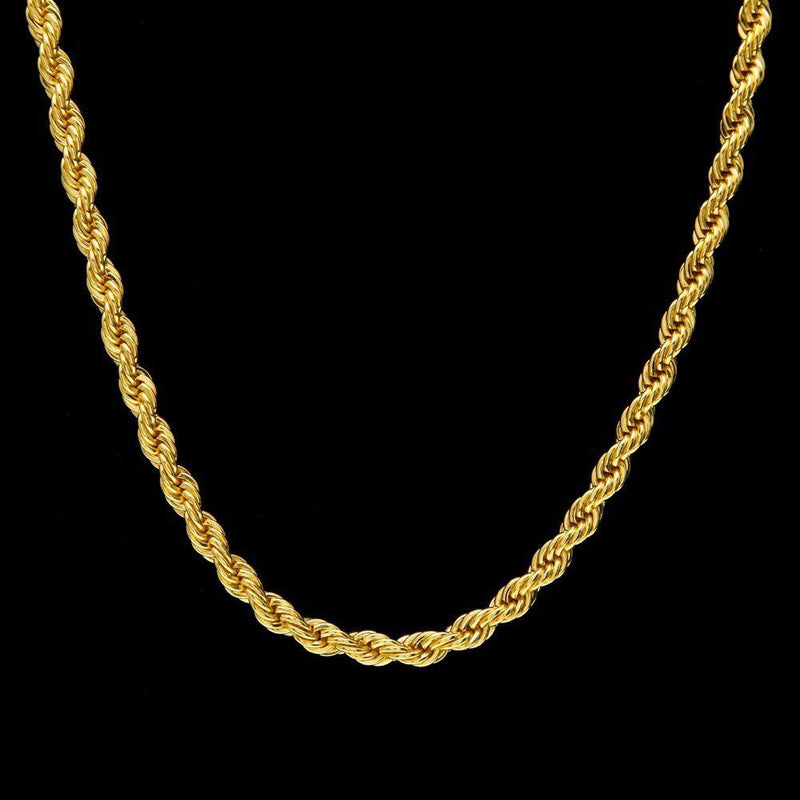 18K Solid Gold Rope Chain Necklaces - DailySale