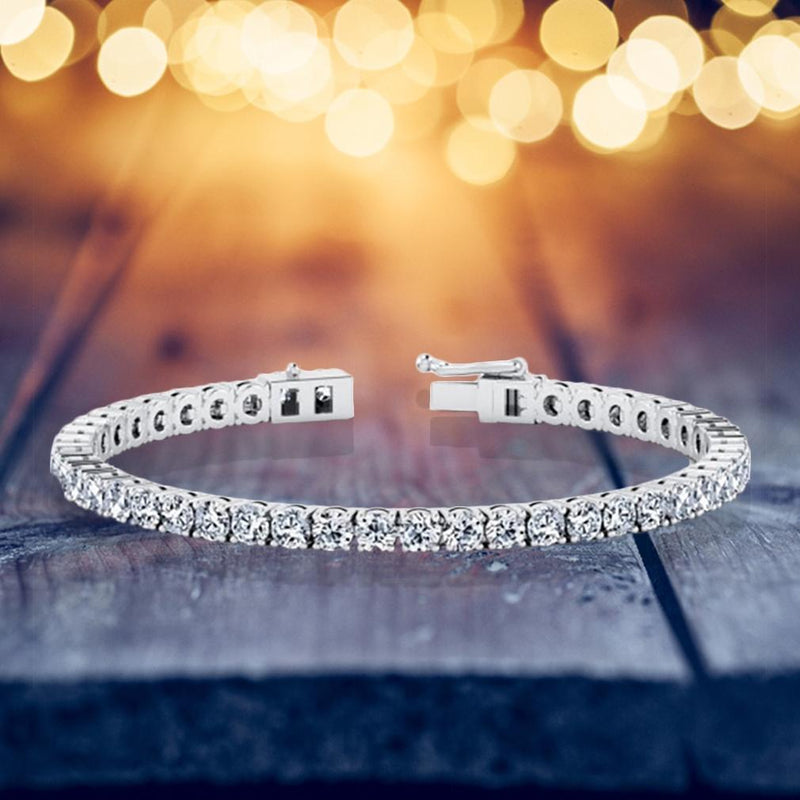 18K White Gold CZ Tennis Bracelet Jewelry - DailySale