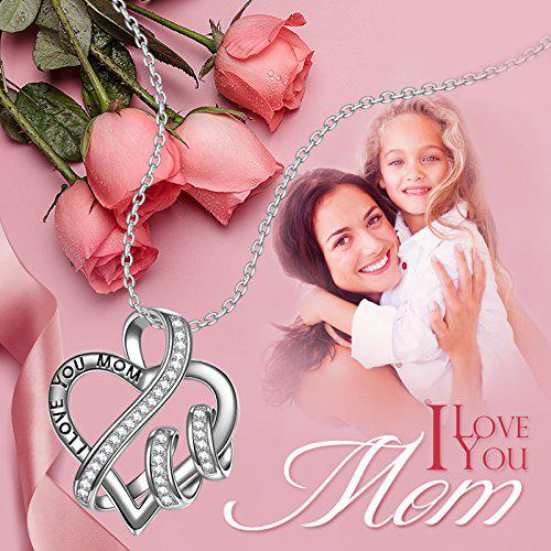 18K White Gold I Love you Mom Heart Necklace Jewelry - DailySale