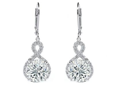18K White Gold Infinity Crystal Drop Earrings Jewelry - DailySale