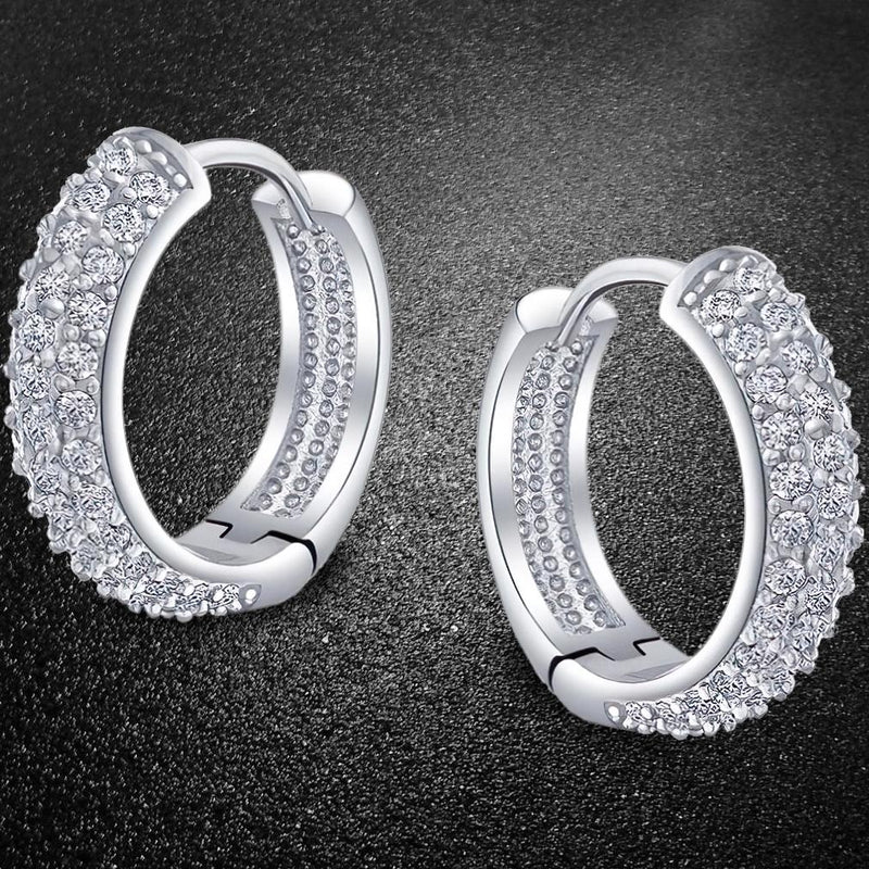 18K White Gold Micro Pave Petite Huggie Earrings Jewelry - DailySale