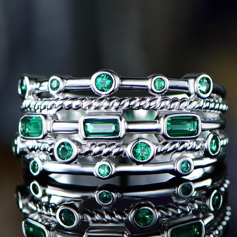 18K White Gold Plated 5 Layer Green Emerald Ring Jewelry 6 - DailySale