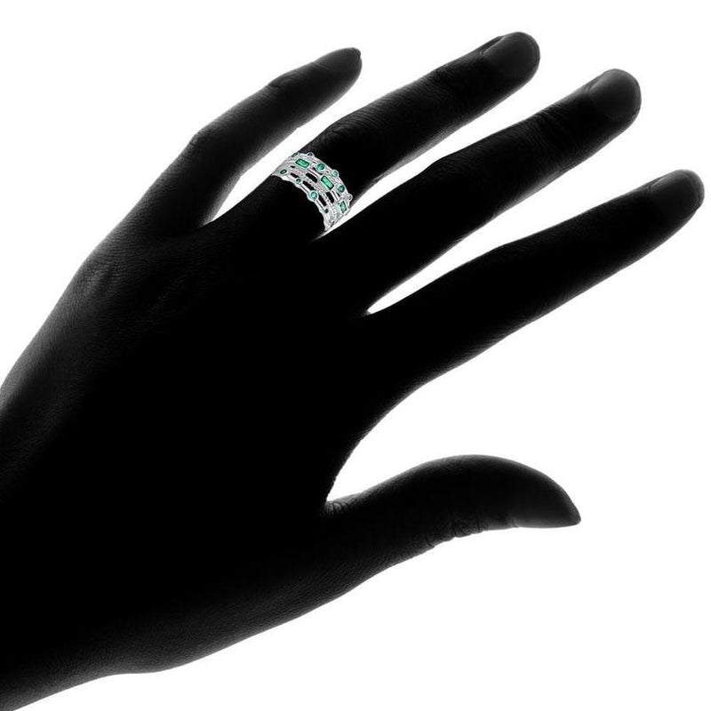 18K White Gold Plated 5 Layer Green Emerald Ring Jewelry - DailySale