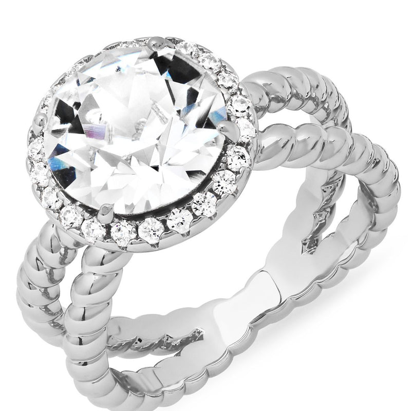18K White Gold Plated Brass Split Shank Rope Engagement Ring Adorned with Swarovski Crystals