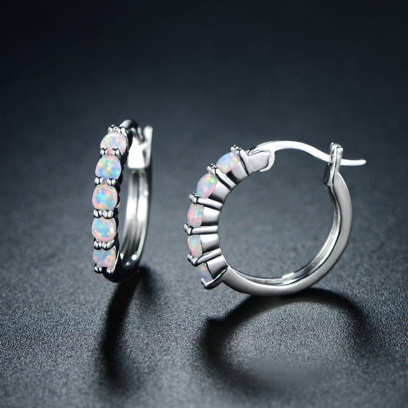 18K White Gold Plated Created Round Opal Hoop Earrings Jewelry - DailySale