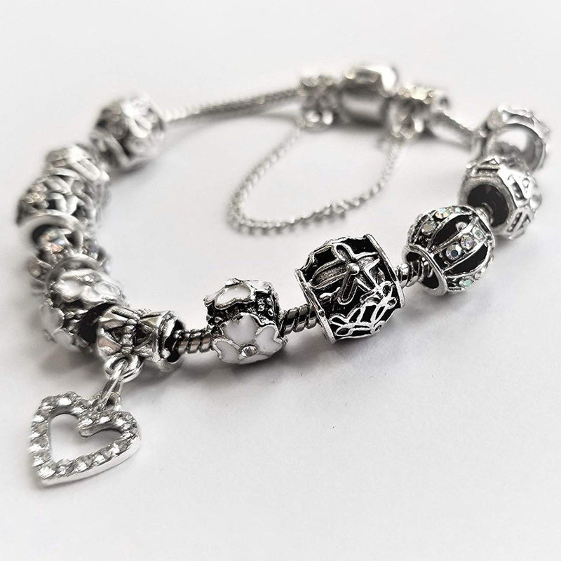 18K White Gold Plated Crystal Heart Charm Bracelet Jewelry - DailySale