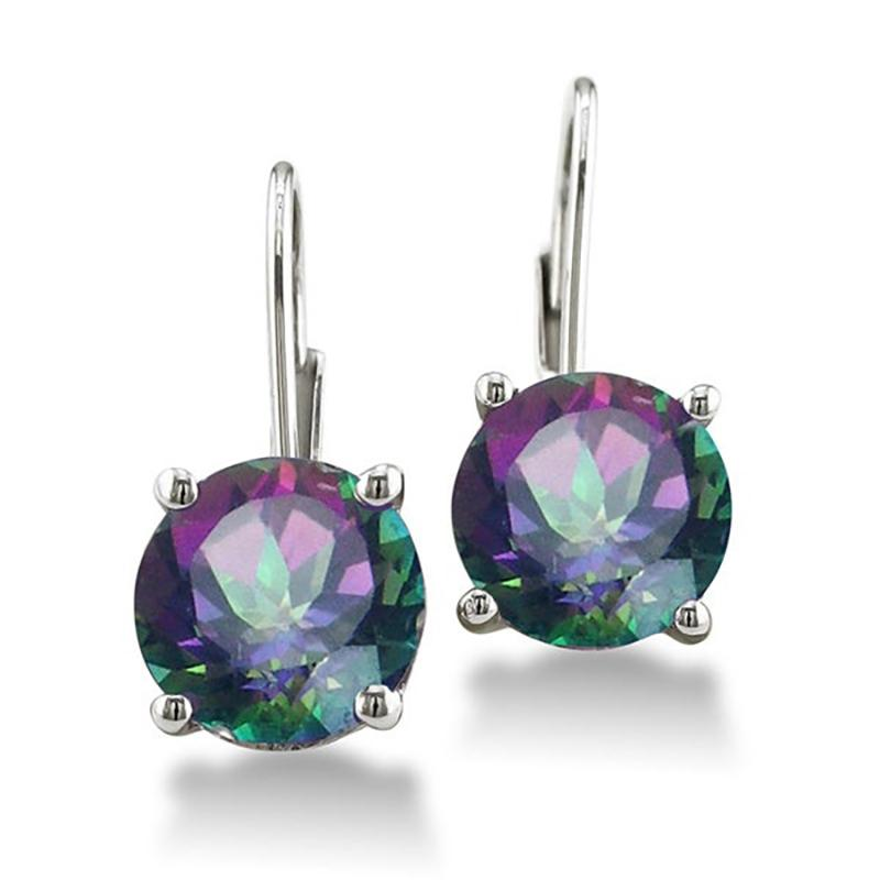 18K White Gold Plated Mystic Topaz Earrings Jewelry - DailySale