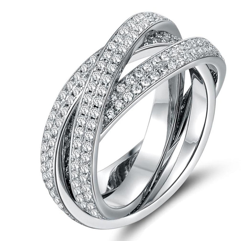 18K White Gold Plated Rolling Eternity Ring Made with Swarovski Elements Jewelry - DailySale