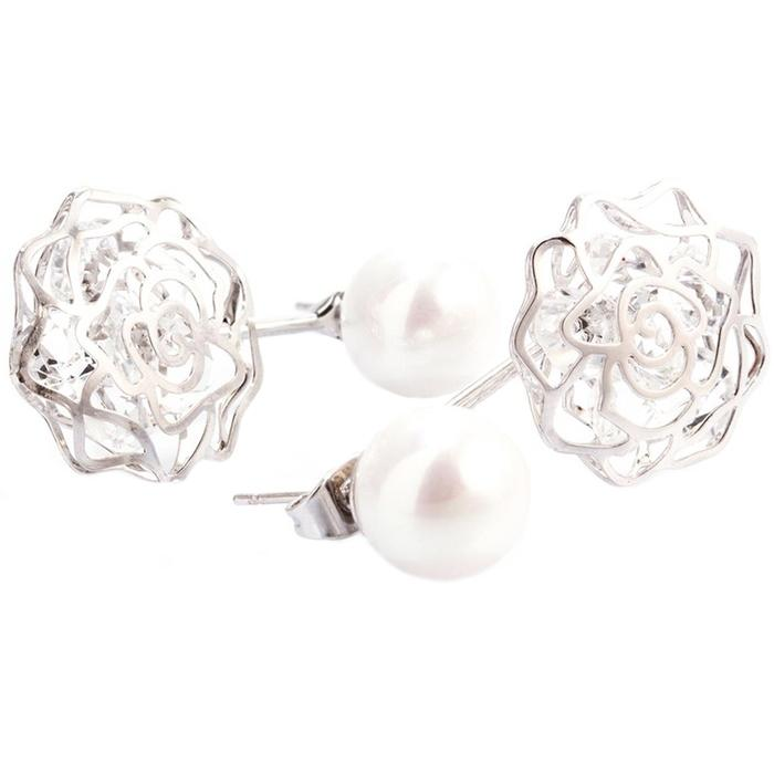 18K White Gold Plated Shell Pearl and Swarovski Elements Earrings Jewelry - DailySale
