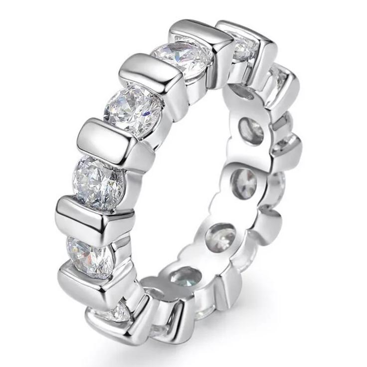 18k White Gold Round Cut Eternity Band Jewelry 6 - DailySale