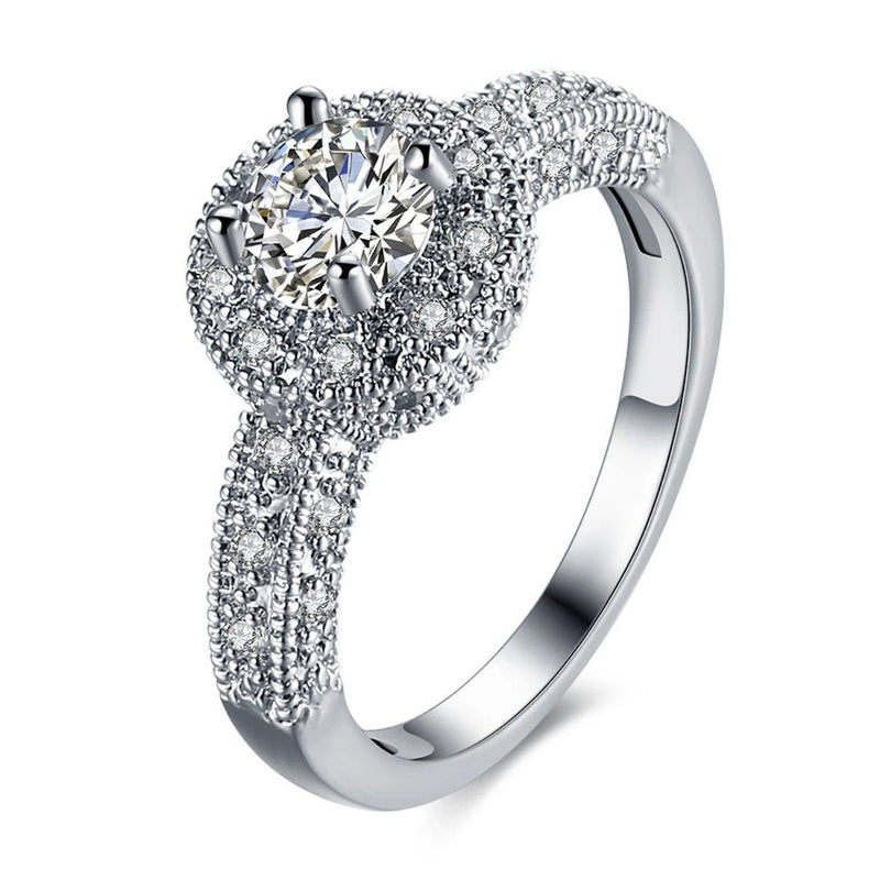 18K White Gold Single Crystal Multi Pav'e Engagement Ring Jewelry 9 - DailySale