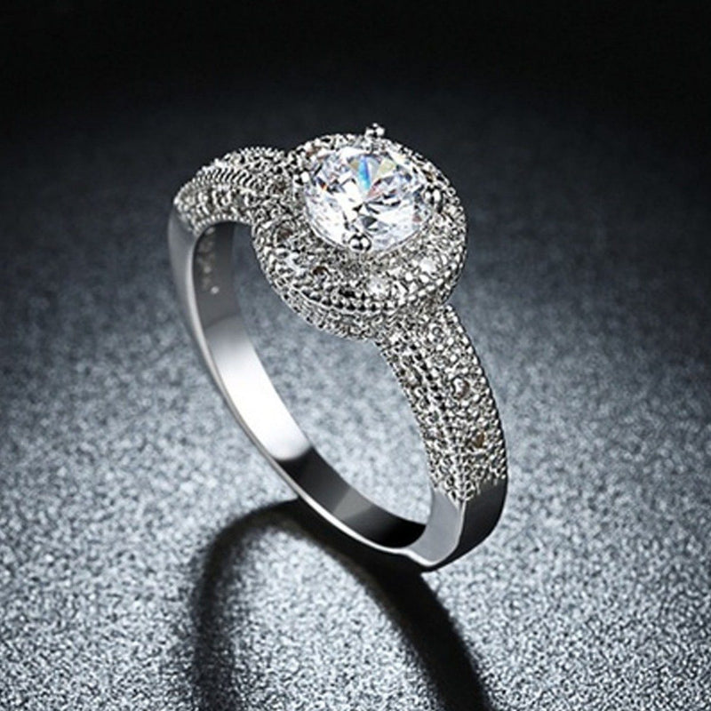 18K White Gold Single Crystal Multi Pav'e Engagement Ring Jewelry - DailySale