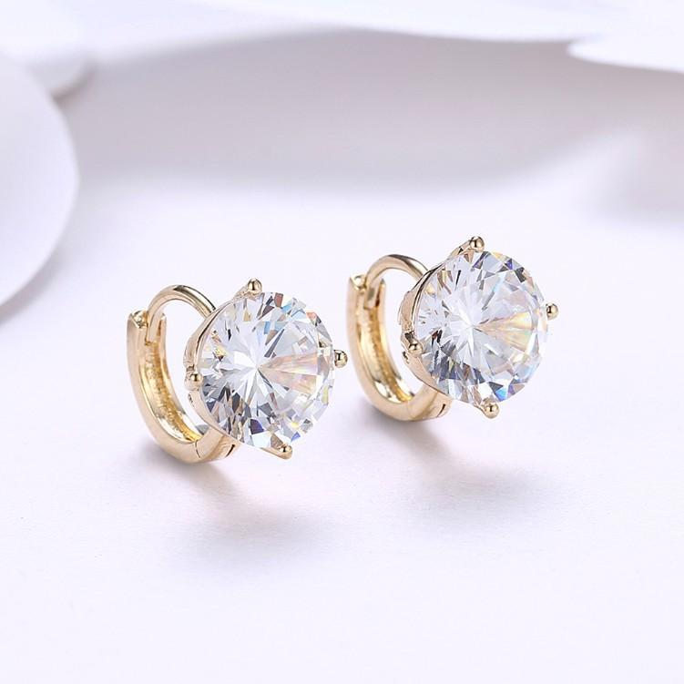 18K White Gold Swarovski Crystal Huggies Set Jewelry - DailySale