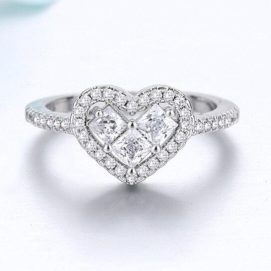 18K White Gold Tri Stone Halo Heart Ring Rings 6 - DailySale