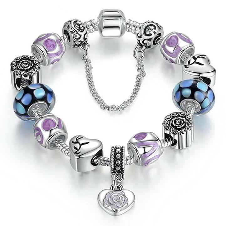 18kt White Gold Plated Murano Glass And Heart Charm Bracelet Jewelry - DailySale