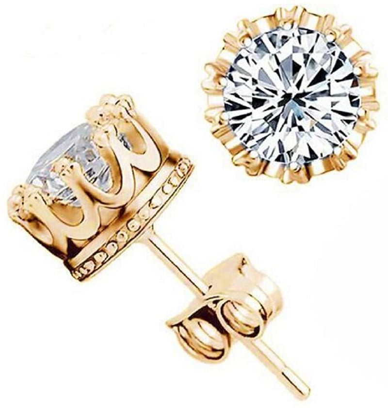 18kt Yellow Gold Plated Crown Stud Earrings Jewelry - DailySale