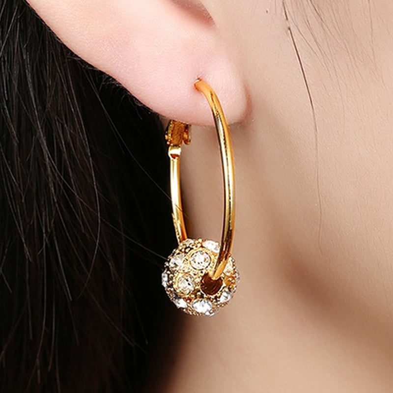 18K Gold Plated Pave Ball Hoop Earring Swarovski Crystals - DailySale, Inc