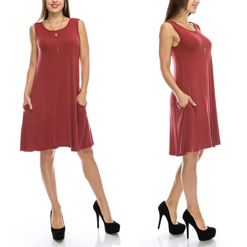 Sleeveless Tunic Dress with Pockets - Assorted Colors & Sizes - DailySale, Inc