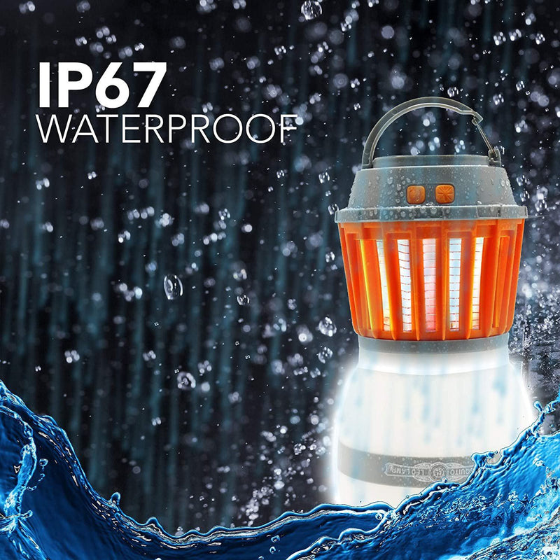 2-in-1 HAKOL Waterproof IP67 Portable fly-rechargeable Anti-Insect Fly Killing Lamp Sports & Outdoors - DailySale