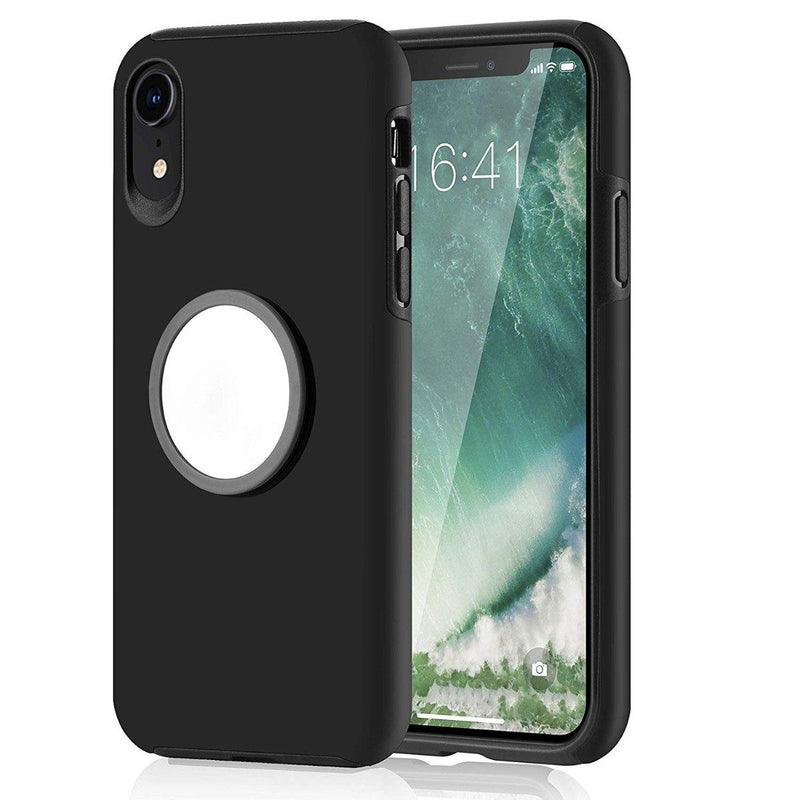 2-in-1 Hybrid Hard PC Covers Soft Rubber Shockproof Bumper Case Phones & Accessories Black iPhone XR - DailySale