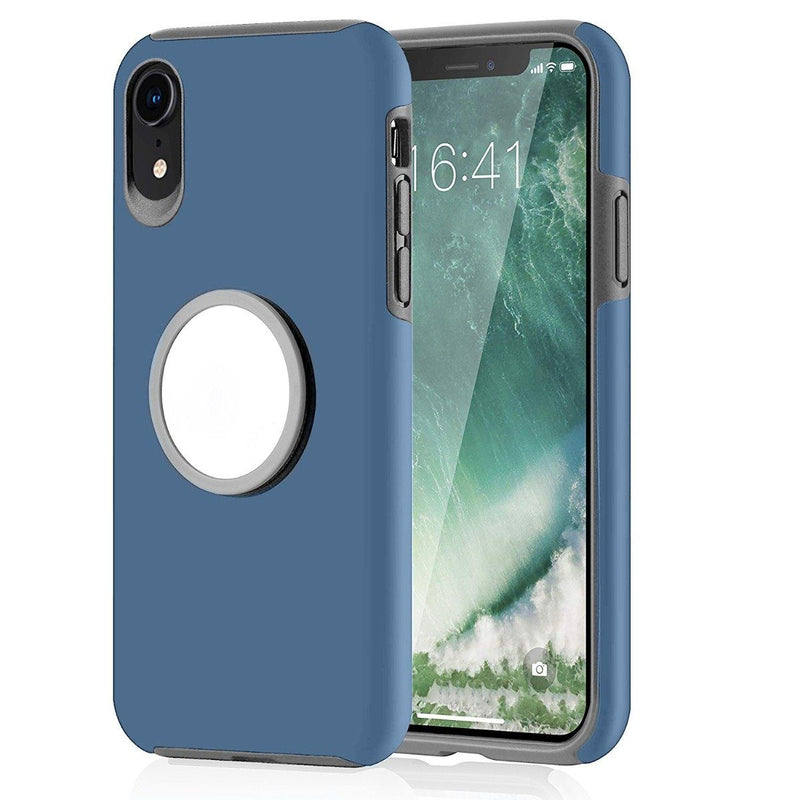 2-in-1 Hybrid Hard PC Covers Soft Rubber Shockproof Bumper Case Phones & Accessories Blue iPhone XR - DailySale