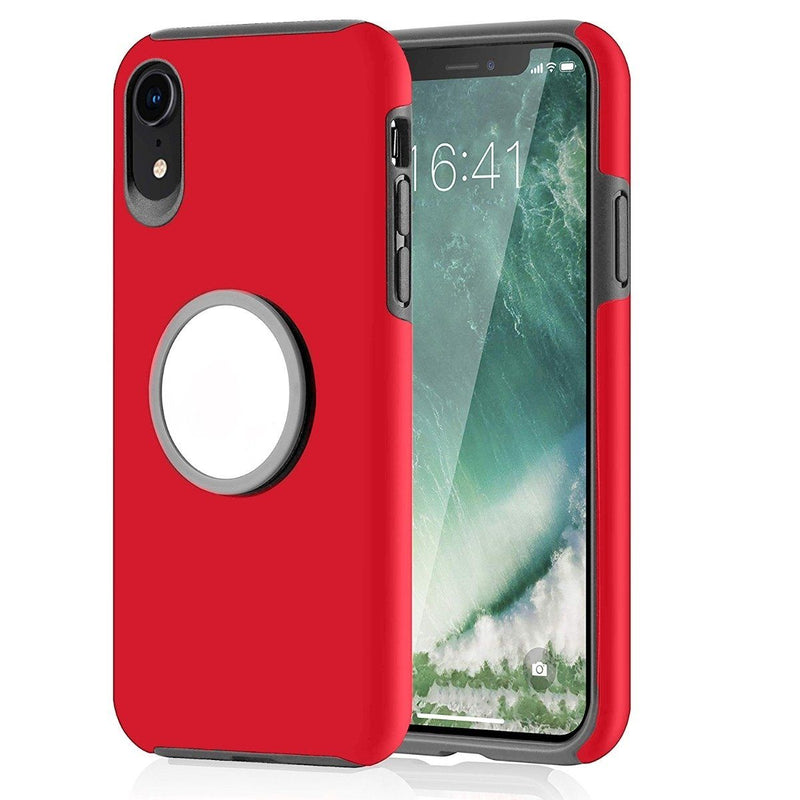 2-in-1 Hybrid Hard PC Covers Soft Rubber Shockproof Bumper Case Phones & Accessories Red iPhone XR - DailySale